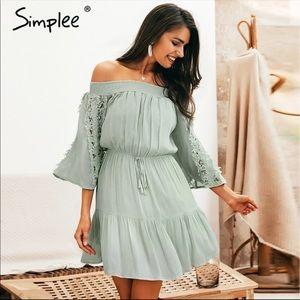 Flared Short Green Dress ✨